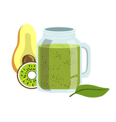 Avocado and kiwi smoothie non-alcoholic fresh vector
