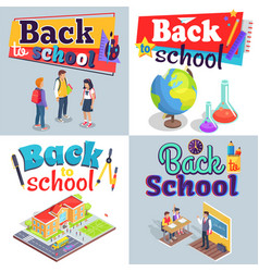 Back to school posters with colorful inscriptions vector