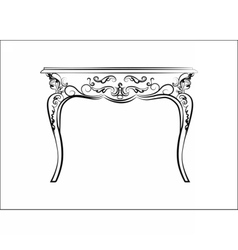 Baroque style table with ornaments vector image vector image
