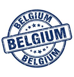 Belgium blue grunge round vintage rubber stamp vector
