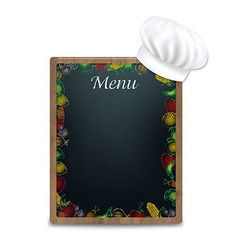 Black board with vegetables border vector