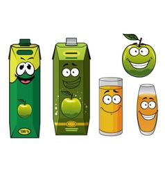 Cartoon happy green apple fruit glasses and packs vector image