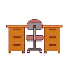 Colorful graphic of work place office interior vector