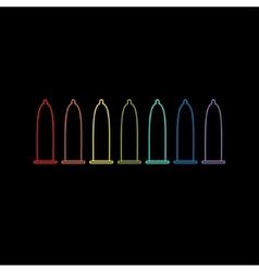 Condom rainbow line icon set protection black vector