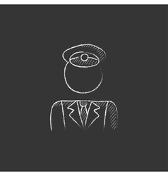 Conductor drawn in chalk icon vector