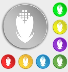 Corn icon sign Symbol on eight flat buttons vector image vector image