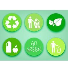 Flat green stickers set vector