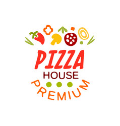 Flat pizza house logo creative design element with vector