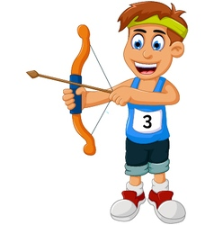 Funny boy cartoon sports archery vector