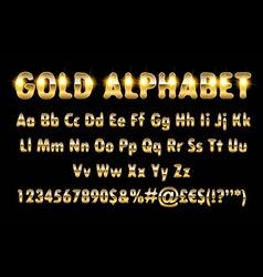 Golden alphabet letters numbers vector