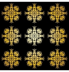 Golden ornamental background on black vector image vector image