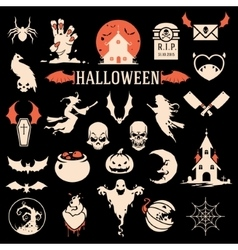 Halloween silhouette objects and icons vector