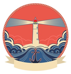 Lighthouse label with anchor and rope frame vector image vector image