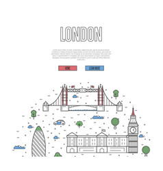 london travel tour poster in linear style vector image vector image