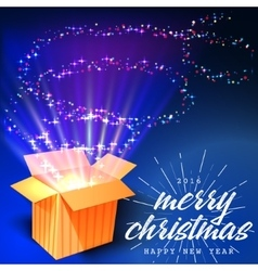 Merry Christmas and Open gift with fireworks from vector image