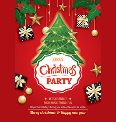 merry christmas party and tree on red background vector image vector image