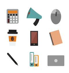 Office life concept bullhorn report calculator vector