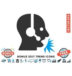 Operator speech flat icon with 2017 bonus trend vector