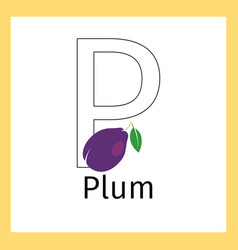 Plum and letter p coloring page vector