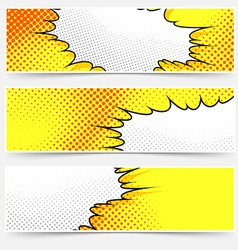 Pop-art comic book style yellow header set vector image vector image