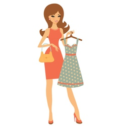 Pretty girl shopping for dress vector image vector image