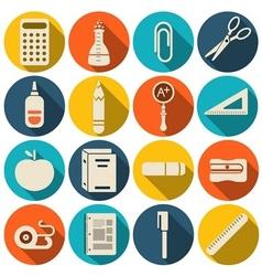 School icons flat set - vector image