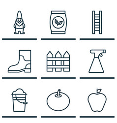 Set of 9 plant icons includes dwarf taste apple vector