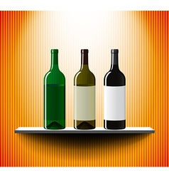 Shelf with three vine bottles vector image
