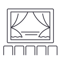 Theater show line icon sign vector