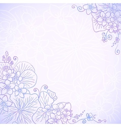Violet ornate flowers romantic card vector image vector image