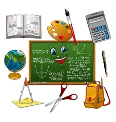 Blackboard cartoon character with school supplies vector