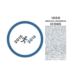 Run to 2016 year rounded icon with 1000 bonus vector