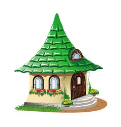 Fairytale house with flowers vector