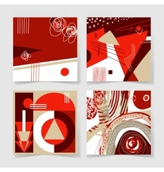 Set of 4 posters with abstract trendy pattern vector
