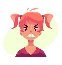 Teen girl face angry facial expression vector