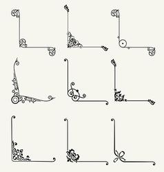 Set of decorative corners classic design vector