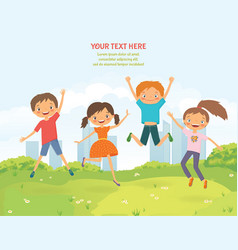 Happy jumping children in the summer city vector