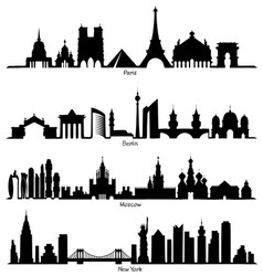 Skyline paris berlin moscow and new york vector