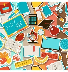 Seamless pattern with school icons vector