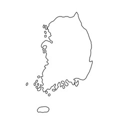 The republic of korea map of black contour curves vector
