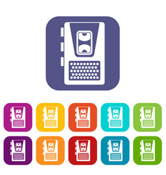 Dictaphone icons set vector