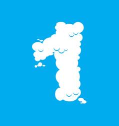 number 1 cloud font symbol white alphabet sign vector image
