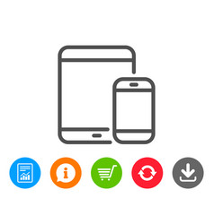 mobile devices icon smartphone tablet pc vector image
