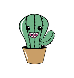 kawaii cute happy cactus plant vector image