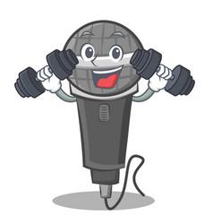 Fitness microphone cartoon character design vector