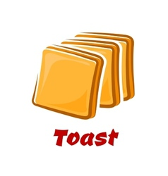 Cartoon toasted bread slices isolated on white vector