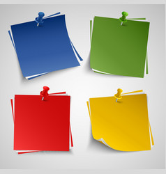 Note color paper with push colored pin template vector