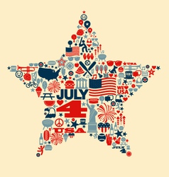 4th of July icons symbols collage T-shirt design vector image vector image