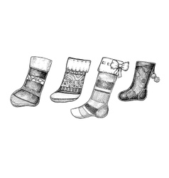 Set of four hand drawn ink christmas socks vector