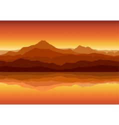 sunset in huge mountains near lake vector image